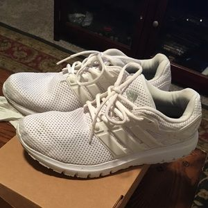 White Adidas Cloud Running Shoes